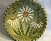 Hand Painted Wooden Bowl  Folk Art Easter Spring Whimsical Style Wooden Bowl Fresh as a Daisy, Honey Bees, Pastel Decor,  OOAK