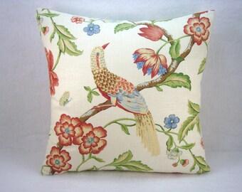 Jaclyn Smith Linen Pillow Linen Bird and Floral  Pillow Linen Pillow 18x18 Decorative Pillow
