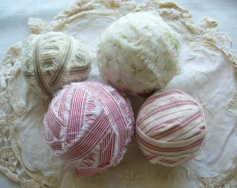 Shabby Fabric Balls by WeeWoollyBurros