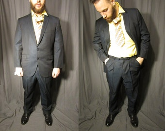 1960s Men's Fenton Hall NYC Wool Suit Single Breasted  1963   60s Hand Tailored  Black Blue Sharkskin