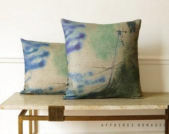 "Retro modern linen & velvet 18"" square decorative pillow.  Affaires Nomades original printed linen. Vintage inspired .. Atlas / RETRO-MODERN"