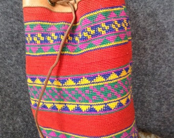 Vintage woven wool and leather bag