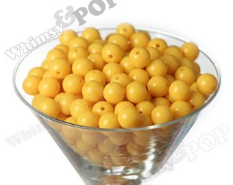 12mm - Sunny Yellow Gumball Beads, 12mm Gumball Beads, 12mm Beads, Small Gumball Beads, Opaque Acrylic Round Beads, 2mm Hole