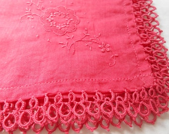 Red Hand-Dyed Vintage Hanky