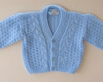 Soft Blue Hand Knit Cardigan - 6 to 9 Months