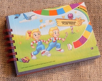 Candy Land notebook, journal; medium sized note pad from recycled game board