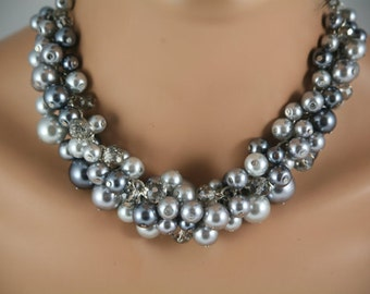 Chunky pearl necklace in silver pewter and dark gray- bridesmaid jewelry, statement necklace, cluster pearl necklace