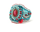 Beaded jewelry, Bead embroidered bracelet, beadwork bracelet cuff, seed bead bracelet, turquoise and red, handmade, big size