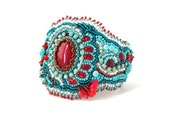 Bead embroidered bracelet, Seed bead bracelet, Turquoise and Red, Unique gift, Handmade bracelet, Big size, Beadwork bracelet