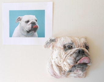 Pet Portrait, Custom Dog Sculpture, Clay Portrait, in memory of pet,