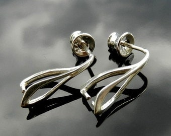 Sterling Silver  Ear Posts with Ear nuts 1 PAIR