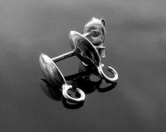 Sterling Silver  Ear Posts with Ear nuts earrings 925 1 PAIR Nickel Free
