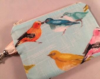 Blue Pastel Birds Small Zipper Pouch, Vegan Wallet, Notions Case, Phone case, iPod Case
