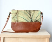 Green Leaves nature inspired Small bag,Crossbody purse,leather, brown