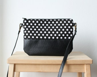 Black and white leather polka dot bag,Small bag,Crossbody bag,Fashion bag,