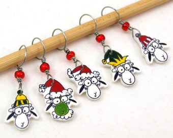 Santa (and Grinch) sheep stitch markers, whimsical set of 5, gift for knitter