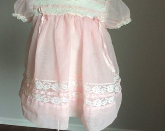 Vintage 1950's baby girl sheer party dress 6 12 months