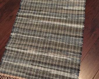 Handwoven Rag Rug, Woven Rug, Repurposed, Recycled Fabrics in Beautiful shades of denim