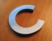 Reclaimed vintage letter - C - Solid Brushed Aluminum