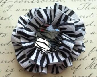 CLEARANCE Girls zebra print ruffle round flower hair bow clip