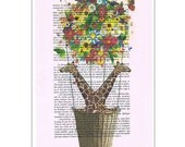 Flying Giraffes with Flowers -book print-art print, Colorful flowers balloon, Vintage Print poster, Dorm decor, Home Wall decor, gift poster