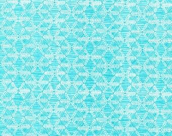 Biology Structure in Turquoise, Sarah Watson, 100% GOTS-Certified Organic Cotton, Cloud9 Fabrics, 126003
