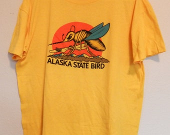vintage Alaska Mosquito T Shirt 80s thin tee state bird funny comedy yellow colorful XL 50/50 tourist '83