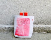 REACH-- handcarved, blockprinted, rock climbing chalk bag.. 1-3 day order