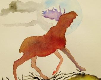Moose watercolor painting, Original watercolor painting, Moose