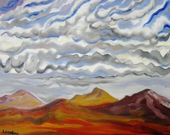 Abstract mountain landscape original oil painting on wrapped canvas