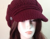 Dark burgundy   Style Newsboy Hat Crochet Slouchy Newsboy Cap Adult black  Beanie Hat with Visor Beret Tweed Cap
