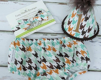 Baby Boys First Birthday Outfit Photo Cake Smash Outfit in Brown and Mint Houndstooth Checks