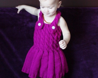 Baby Dress - Pink Baby Dress - Pink Dress - Knitted dress - 12-18 months - Ready to ship
