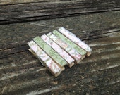 Shabby Ragged Frayed Fabric Pink and Green Decorative Wooden Clothespins - Set of 6