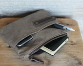 Boyfriend gift - Waxed canvas pouch - waxed canvas bag - waxed canvas purse - zippered case - waxed cotton bag - Christmas gift - mens bag