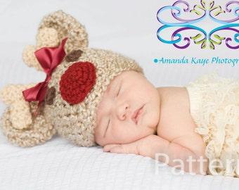 PDF CROCHET PATTERN Crochet Baby Girl Reindeer Rudolph Hat Newborn 0-3 Months 3-6 Months Instant Download