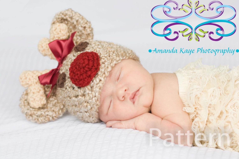 PDF CROCHET PATTERN Crochet Baby Girl Reindeer Rudolph Hat