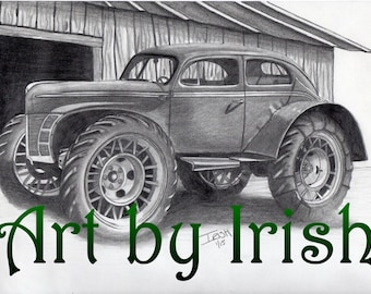 "Barn Buggy original drawing, 8 1/2x11"" drawing, for him, mens gift, unique 4x4, lifted car, original pencil drawing, hot rod art, Barn art"