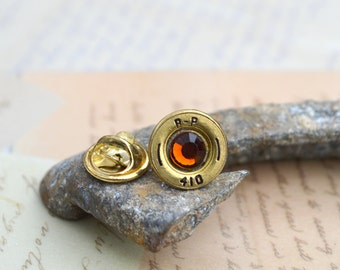 Bullet Hat Pin/Tie Tack Brass Speer 410 Shotgun Shell Shell Recycled Repurposed with Topaz Swarovski Gem