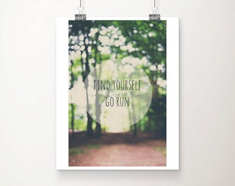 running photograph inspirational art woodland photograph nature photography fitness print running print typography print