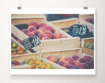 french market photograph food photography kitchen wall art farmers market print peach photograph fruit photograph vegetable print