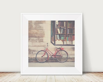 red bicycle photograph cambridge photograph book shop photograph vintage bicycle print street photography travel photograph retro print