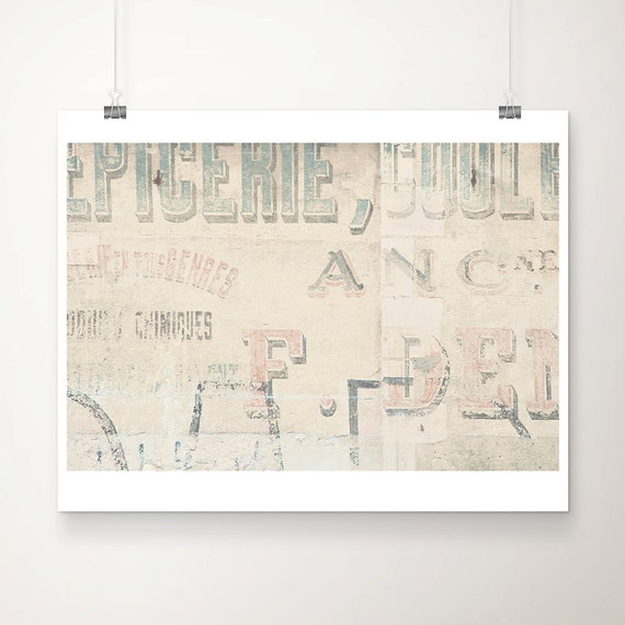 color photography, pastel, cream, french decor, wall, advertisement, red, historic, france, words, writing