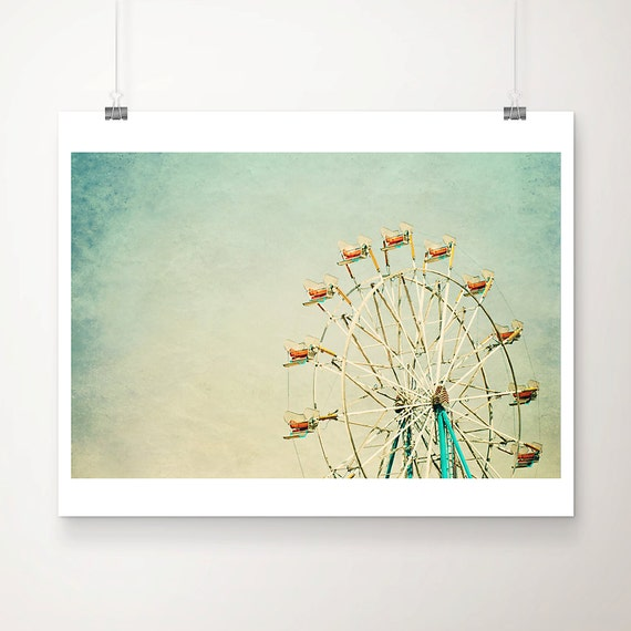 ferris wheel photograph carnival photograph ferris wheel print carnival print green home decor county fair photograph nursery wall art