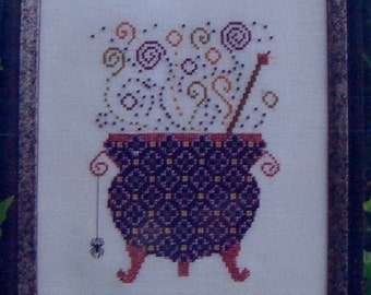 Turquoise Graphics & Designs WITCH'S BREW Couldron Halloween - Counted Cross Stitch Pattern Chart