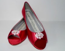 Red Satin Wedding Shoes Bridal Wedge Open Toe With Crystals Bridal Shoes Red Satin, Ruby Red Slippers