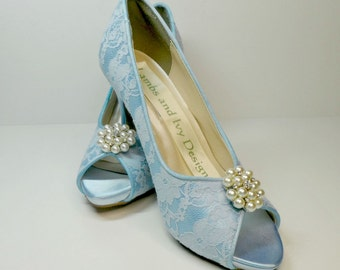 Blue Lace and Pearl Bridal  Wedding Shoes Bridal Shoes Dyeable Crystal and Rhinestone Peep Toe Novia