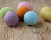 6 Needle Felted Wool  Easter Eggs - Solid Colors