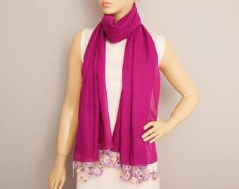 Long scarf ,Turkish oya scarf ,Hand crocheted ,gift idea ,summer scarf ,Violet