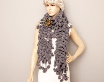 Crochet mulberry  scarf with removable flower pin  ,long crochet scarf ,grey